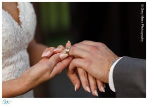 Bride sliding ring on Groom's finger