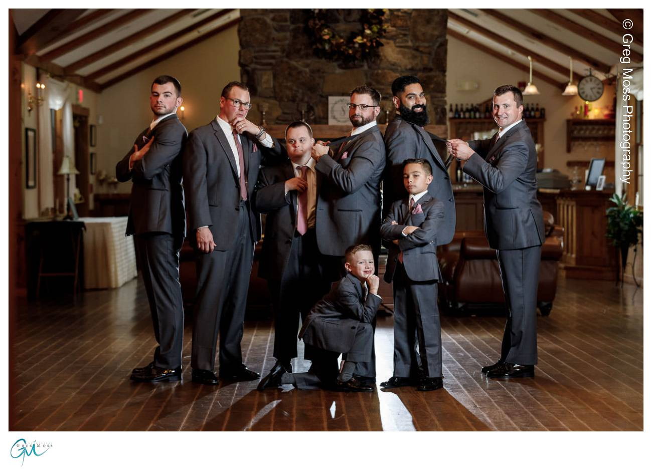 Groom and Groomsmen in front of fireplace