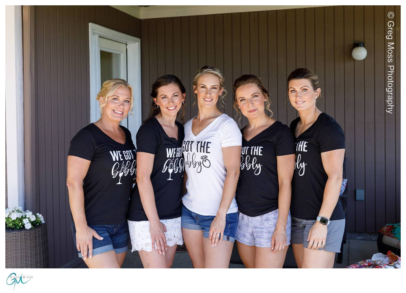 Bride and Bridesmaids in matching t shirts