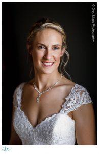 Portrait of bride with dark background