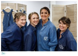 Bride with Bridesmaids in matching shirts