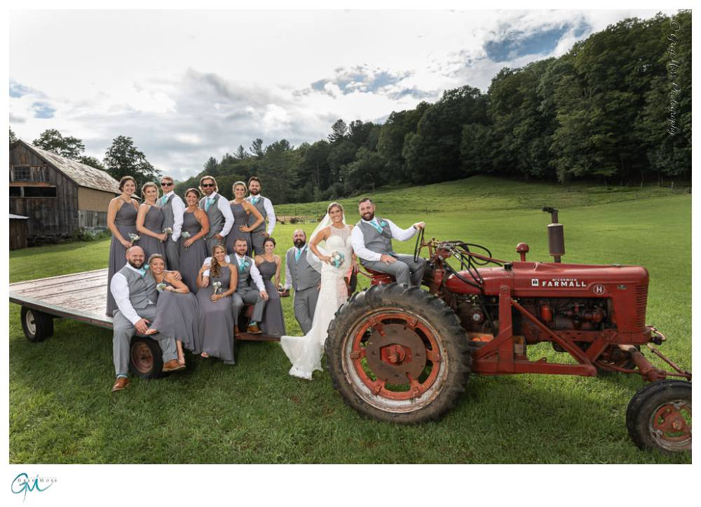 Entire wedding party on Tractor
