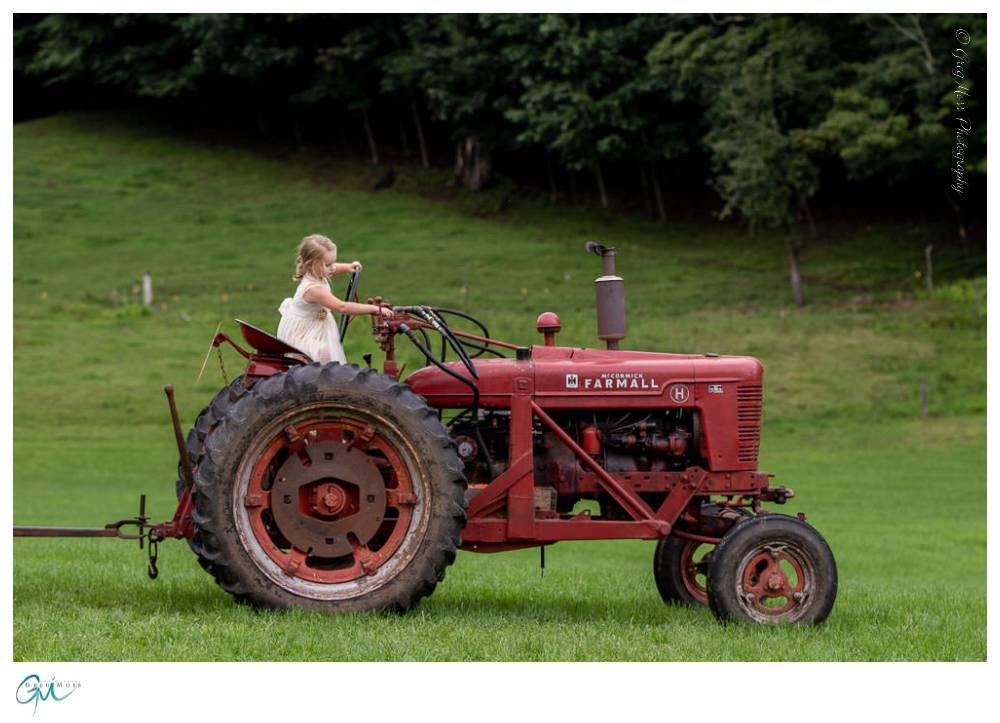 Flower girl in tractor