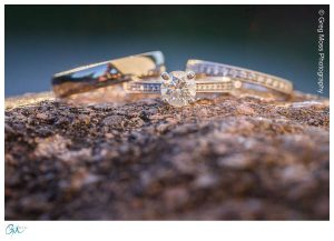 Wedding ring on rocks