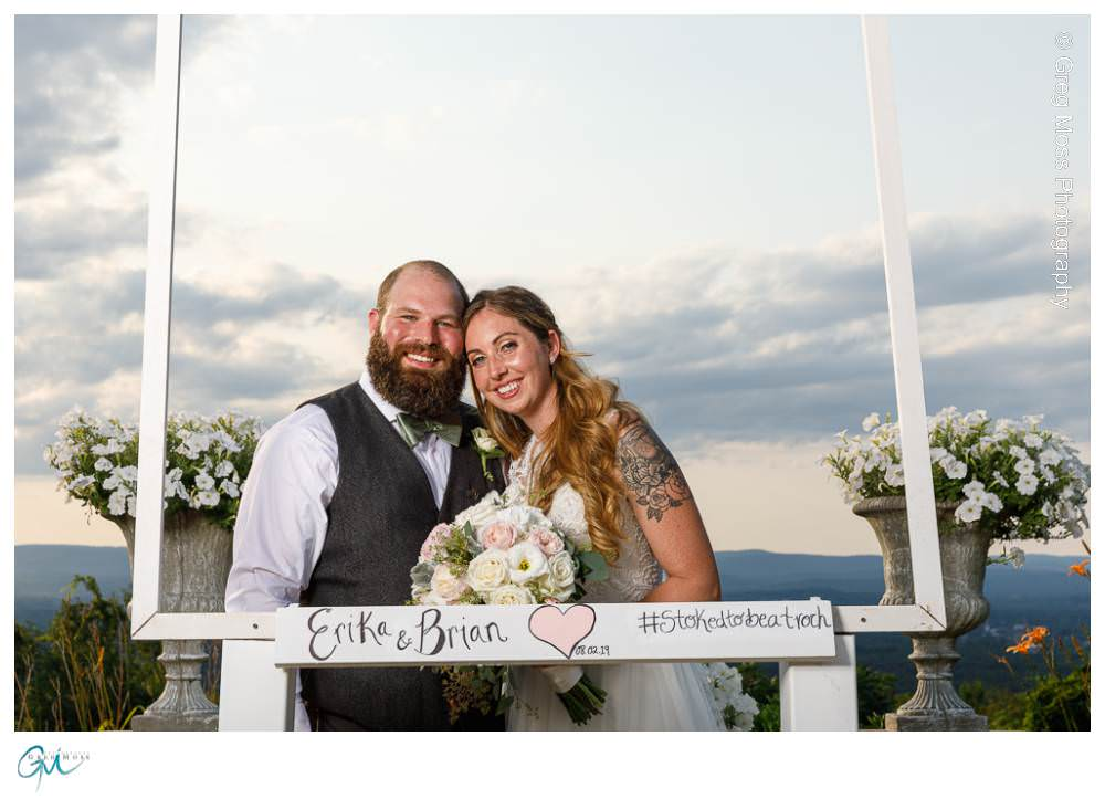Bride and Groom in photo frame with dynamic background