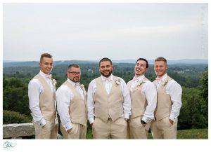 Groom and groomsmen with bow ties
