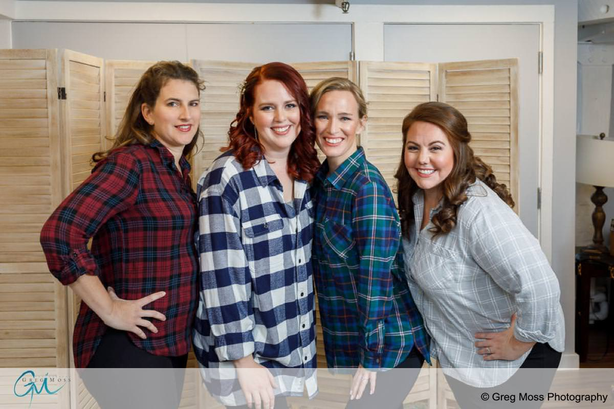 Bride and Bridesmaids in flannel shirts