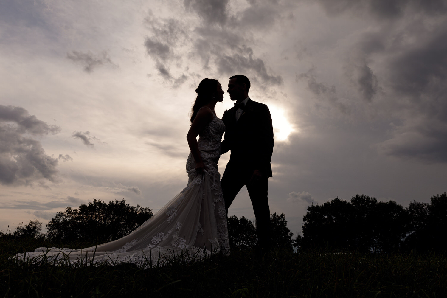 Dramatic photo of bride and groom.