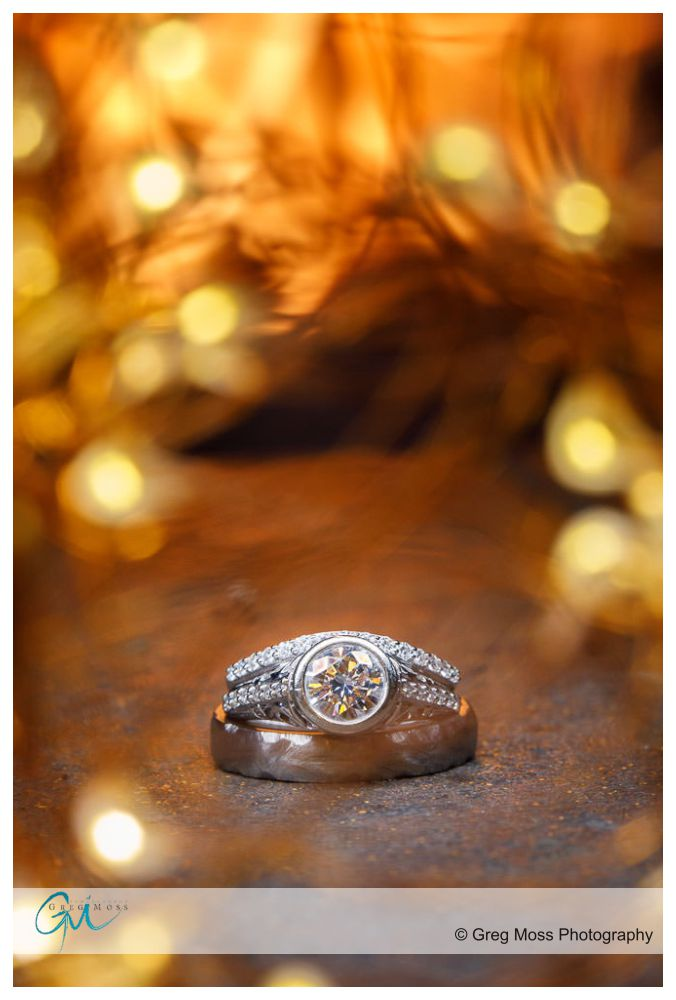 Wedding ring photo by fireplace