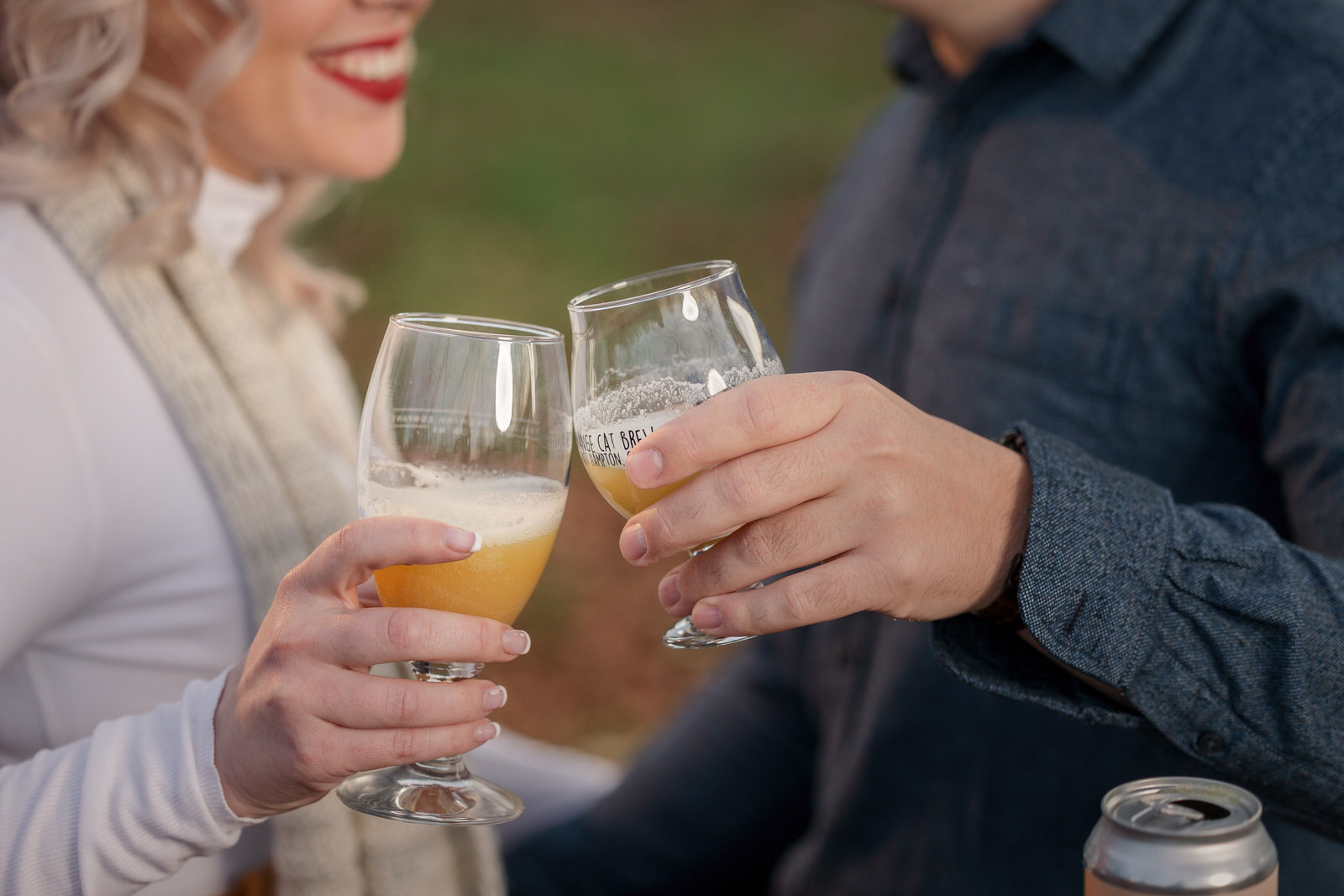 Engagement couple drinking beer