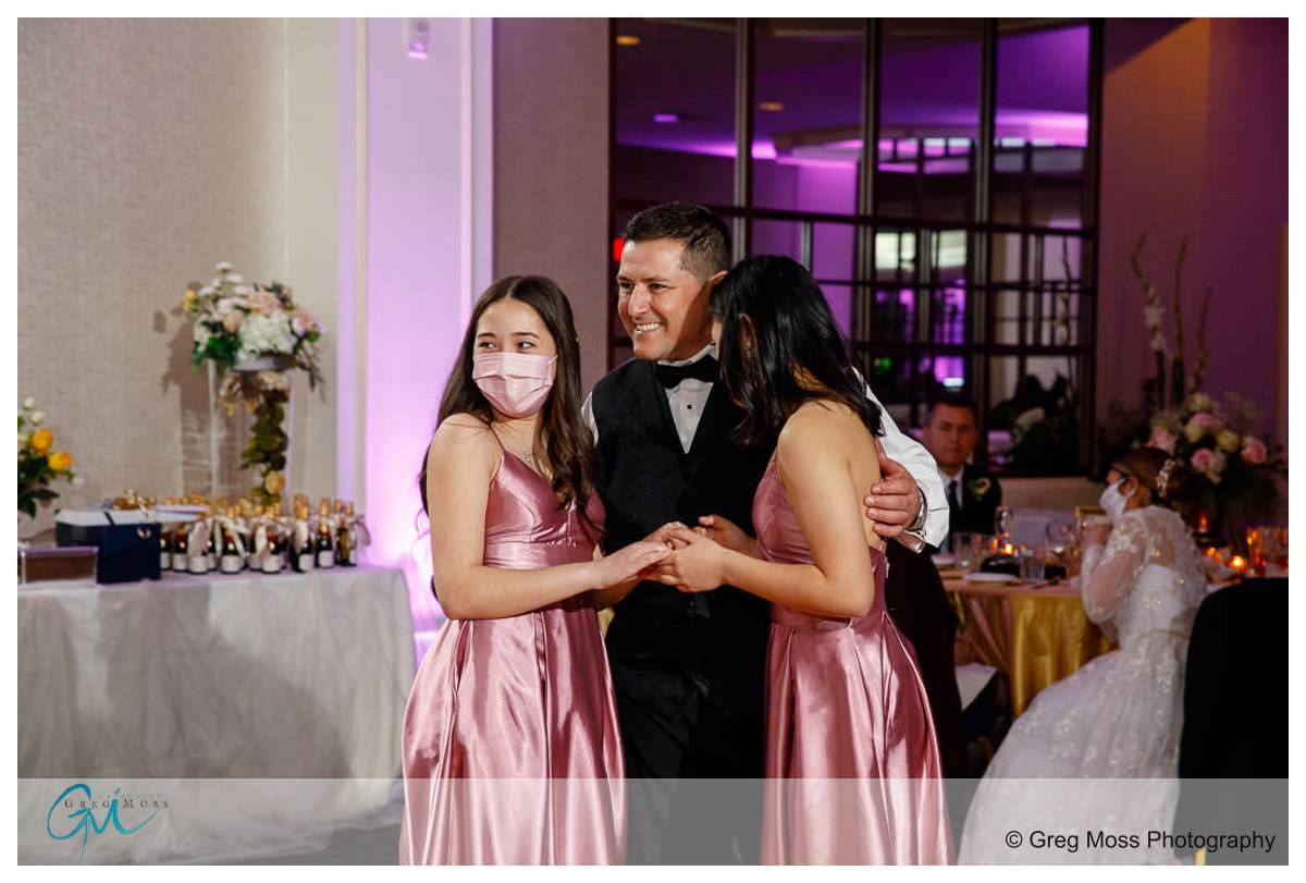 Groom with daughters