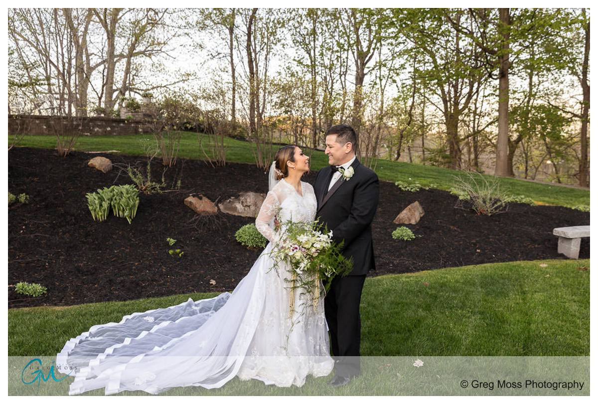 Bride and Groom Portrait in garden at the D hotel