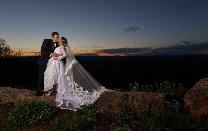Wedding couple sunset photo at the Log Cabin/Delaney house