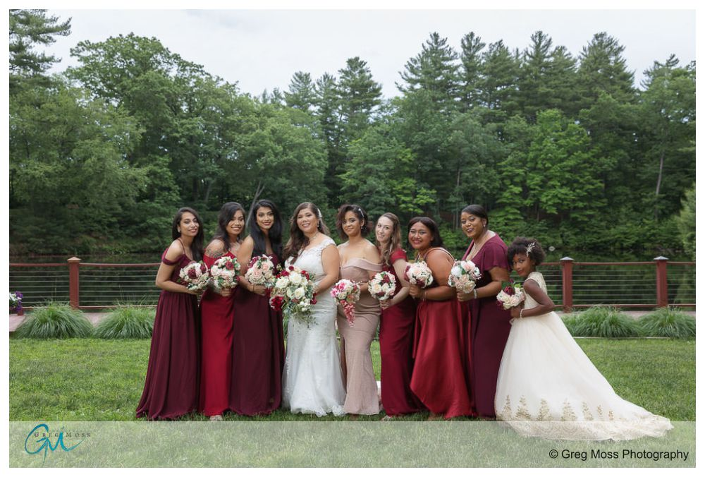 Bridal party at the sanctuary and willow lake