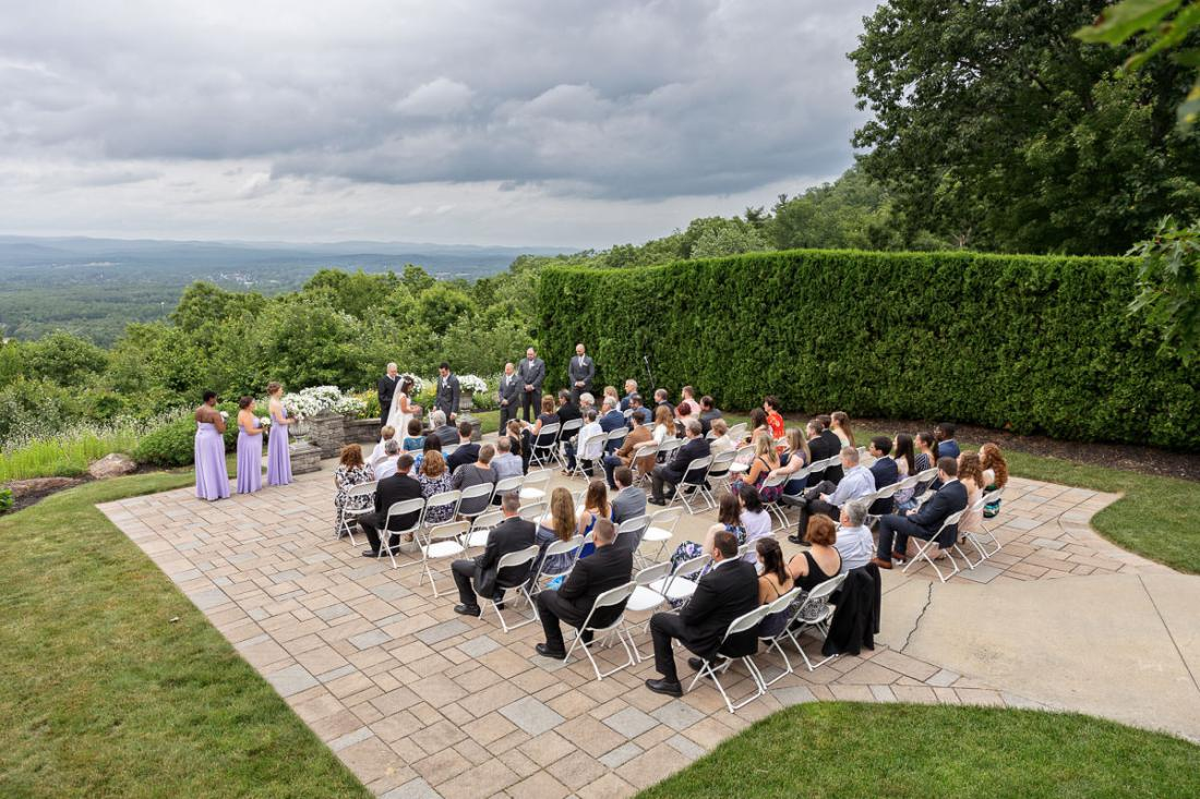 Overview shot of ceremony spot at the Log Cabin in Holyoke