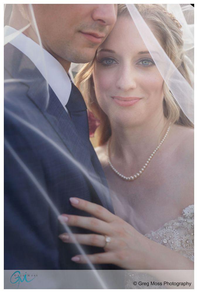 Bride through veil holding onto groom.