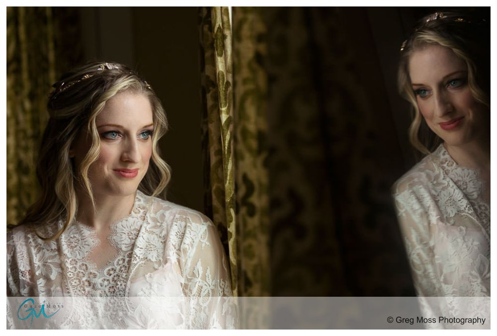 Stunning bridal portrait with reflection of bride in tv