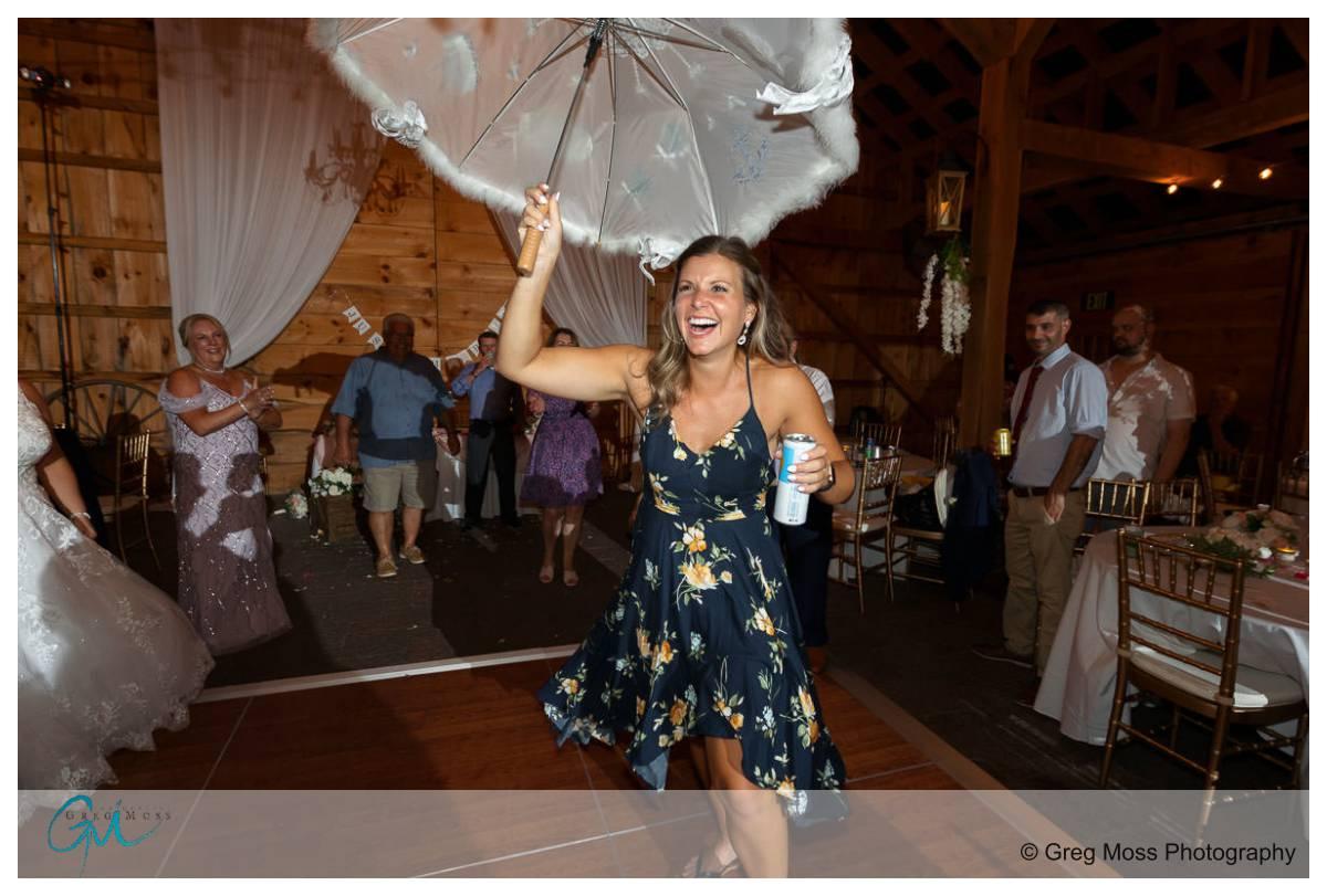 Umbrella dance at wedding reception