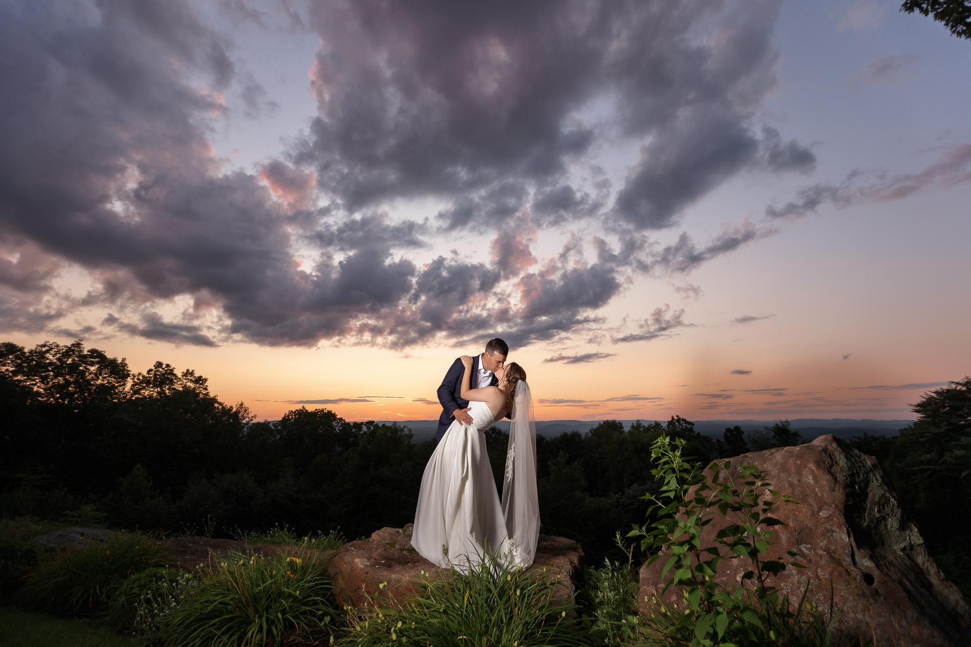 Log Cabin Wedding Sunset Photo Holyoke Ma