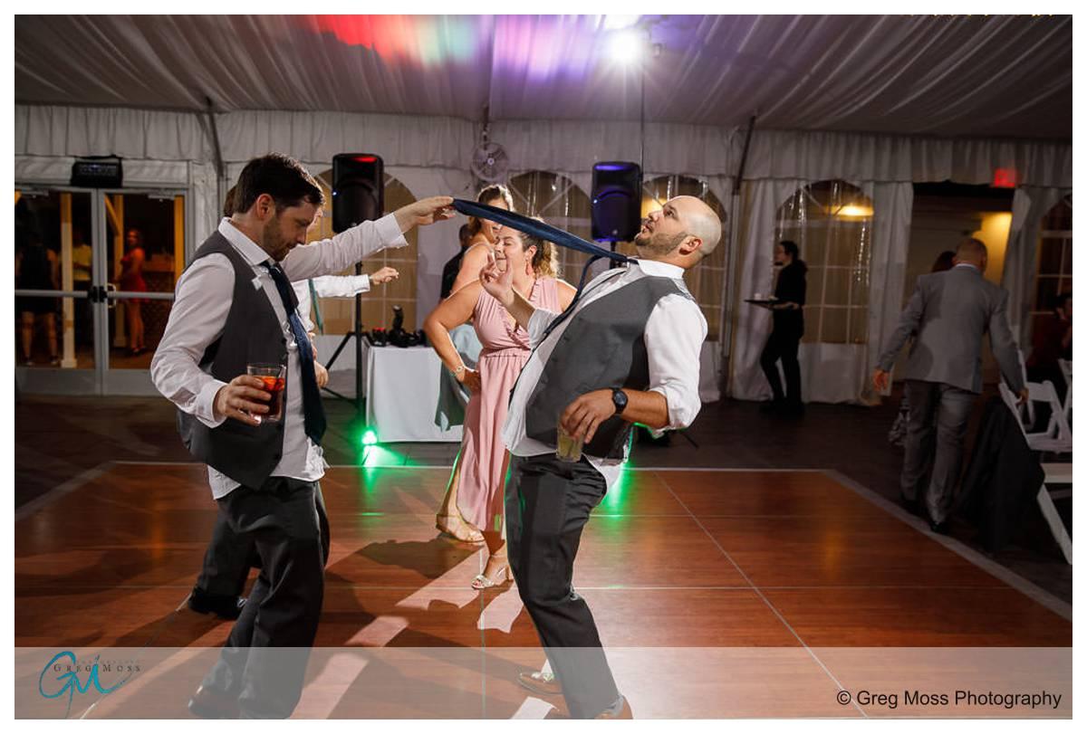 Groomsmen getting wild on the dance floor