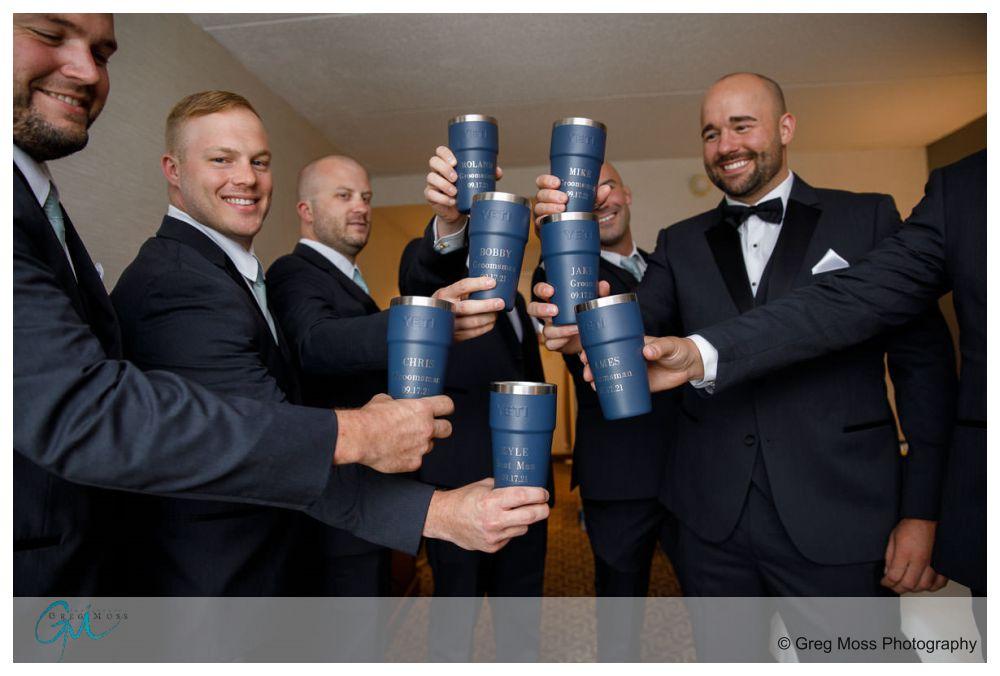 Groom and Groomsmen with yeti mugs
